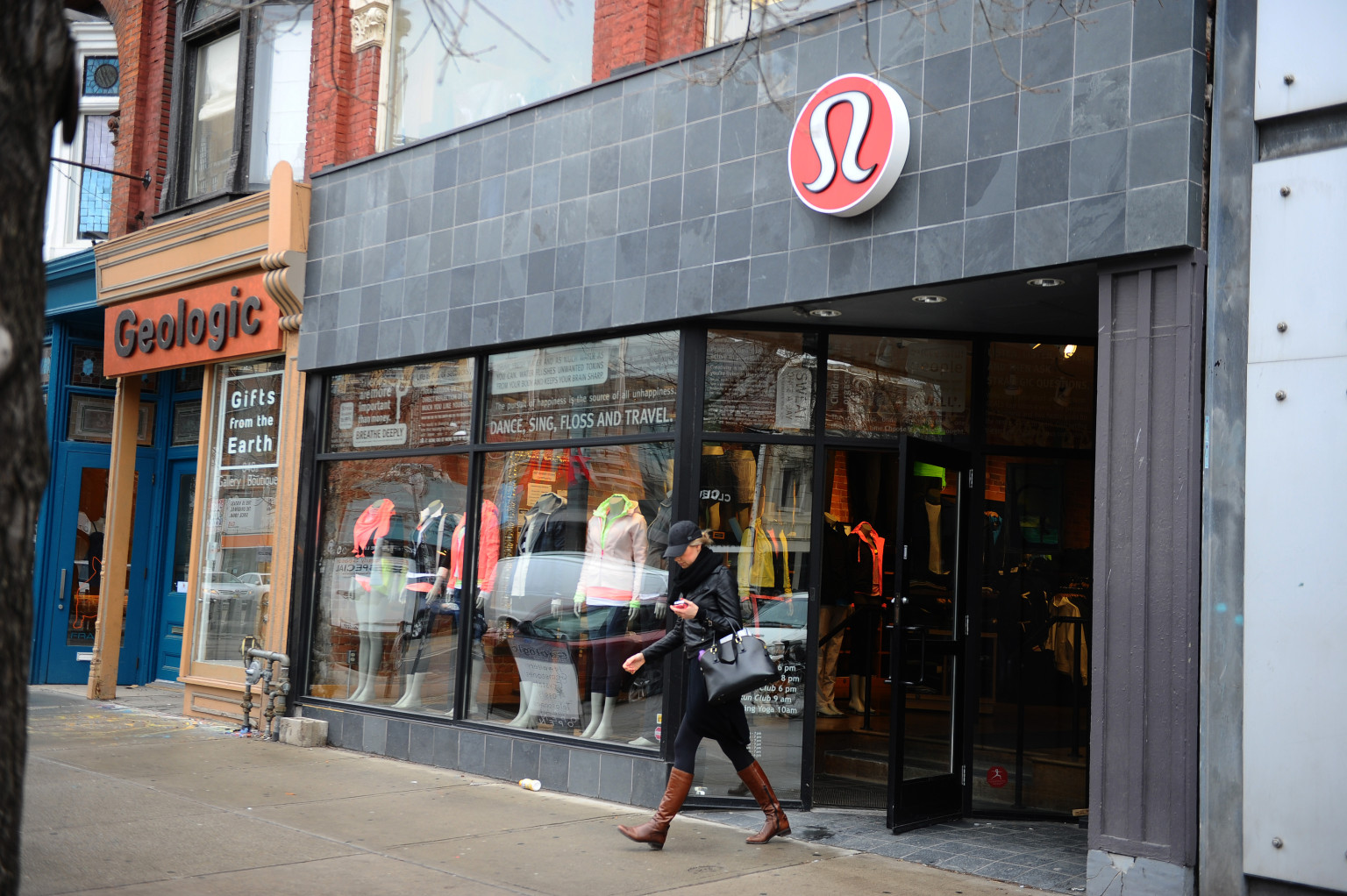 TORONTO, ON - MARCH 19: Lululemon has yanked its popular black yoga pants from store shelves after it found that the sheer material used was revealing too much of its  loyal customers Shots of exterior of two stores one at 342 Queen st west and the one in the Eaton Centre taken  on March 19th 2013..... This is the Queen st west store.        (Colin McConnell/Toronto Star via Getty Images)